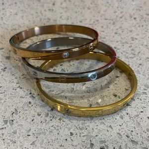 Gold, rose gold, and silver bangles rhinestone
